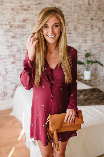 Tie Front Embroidered Floral Dress - Burgundy - FINAL SALE