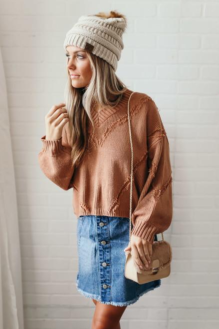 City Limits V-Neck Fringe Detail Sweater - Dusty Brick - FINAL SALE