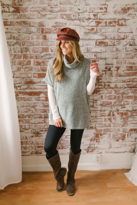 Embry Button Detail Two Tone Sweater - Ivory/Black - FINAL SALE