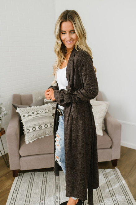 Meadowlark Tie Waist Duster Cardigan - Dark Charcoal - FINAL SALE
