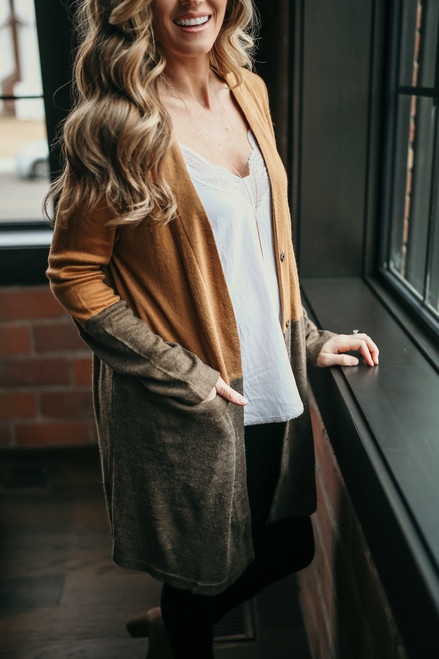 Hemingway Cafe Colorblock Cardigan - Caramel/Coffee - FINAL SALE