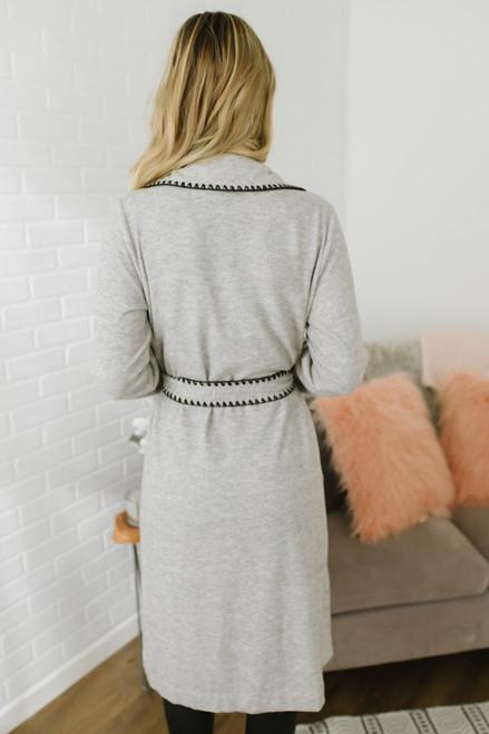 Contrast Stitch Tie Waist Duster Cardigan - Grey/Black