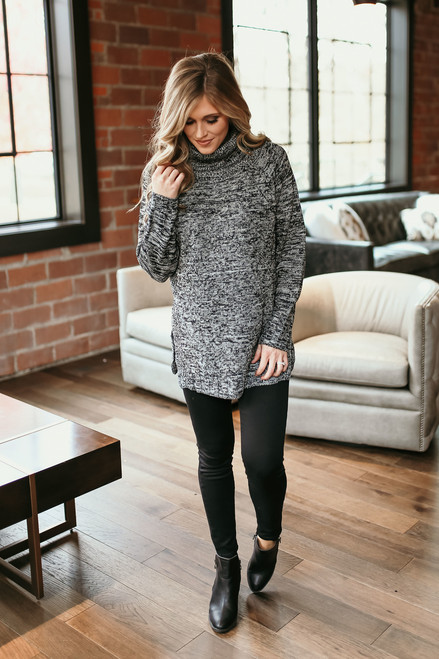 Seneca Falls Two Tone Turtleneck Sweater - Black/Grey - FINAL SALE