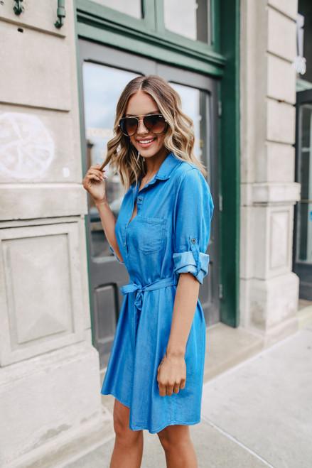 Mellie Tie Waist Chambray Dress - Denim Blue