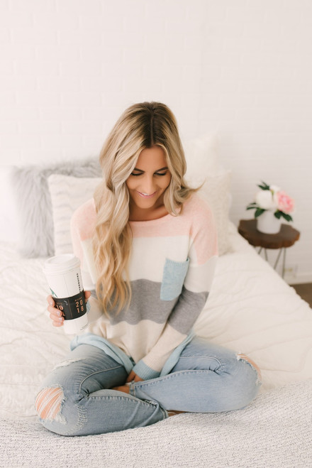 Arendelle Colorblock Pocket Sweater - Pastel Multi