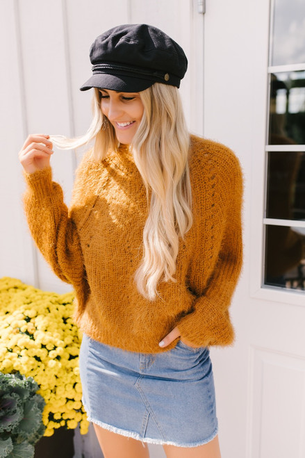 Mock Neck Eyelash Dolman Sweater - Camel  - FINAL SALE