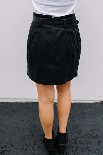 Miley Zipper Detail Corduroy Skirt - Black - FINAL SALE