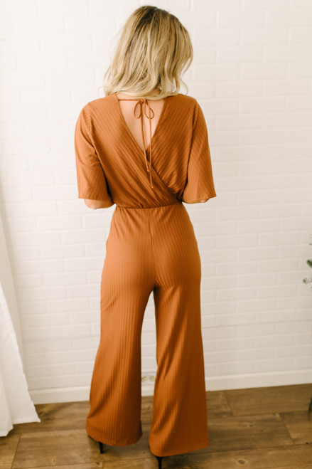 Short Sleeve Faux Wrap Ribbed Jumpsuit - Rust - FINAL SALE