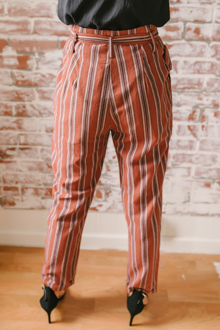 California Vineyard Striped Paperbag Pants - Brick Multi - FINAL SALE