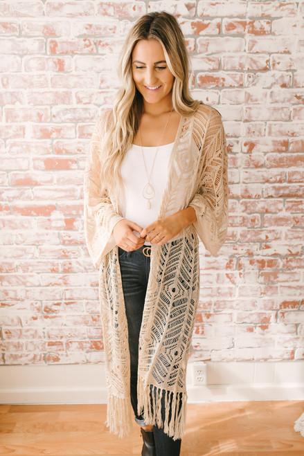 Willa Crochet Fringe Duster Cardigan - Natural - FINAL SALE