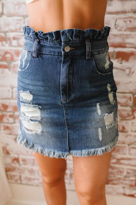Distressed Paperbag Denim Skirt - Dark Wash - FINAL SALE