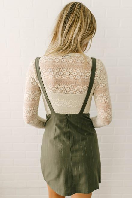 Hallie Pinstripe Button Down Dress - Olive  - FINAL SALE