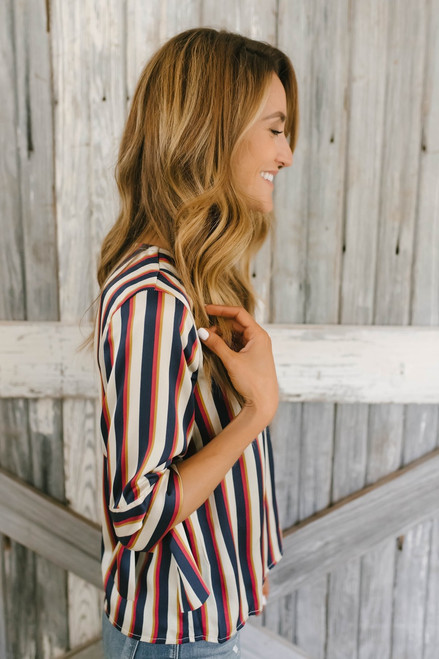Tie Sleeve Satin Striped Wrap Top - Navy Multi - FINAL SALE