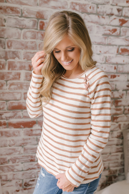 Lace Up Detail Striped French Terry Top - Brick/Cream - FINAL SALE