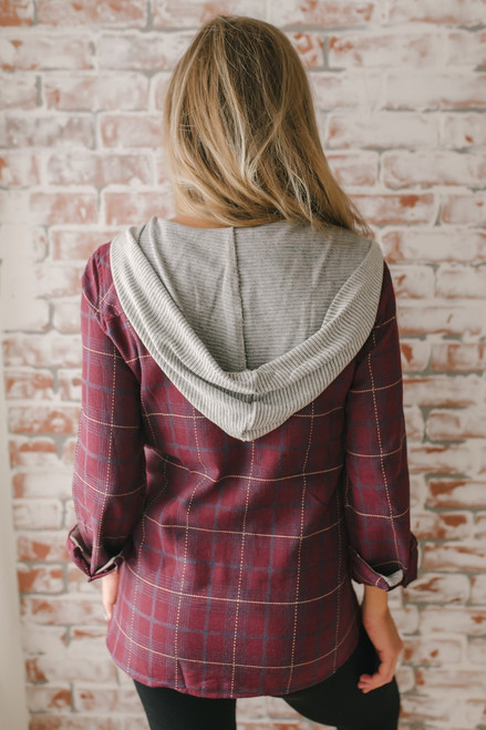Hooded Zip Up Plaid Top - Burgundy Multi - FINAL SALE