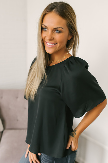 Everly Brighter Days Woven Top - Black  - FINAL SALE