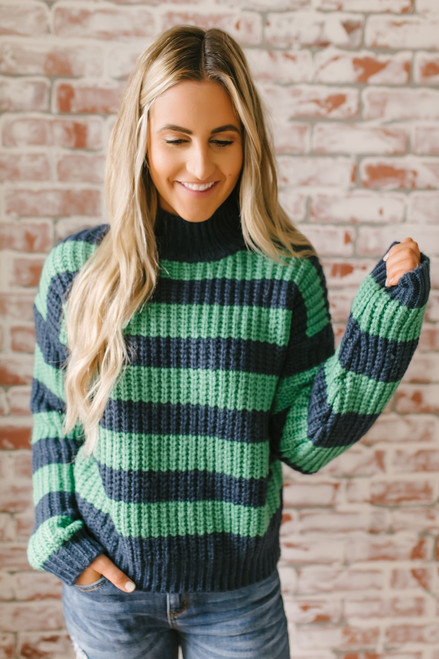 Hawthorne Hall Mock Neck Colorblock Sweater - Navy/Green - FINAL SALE