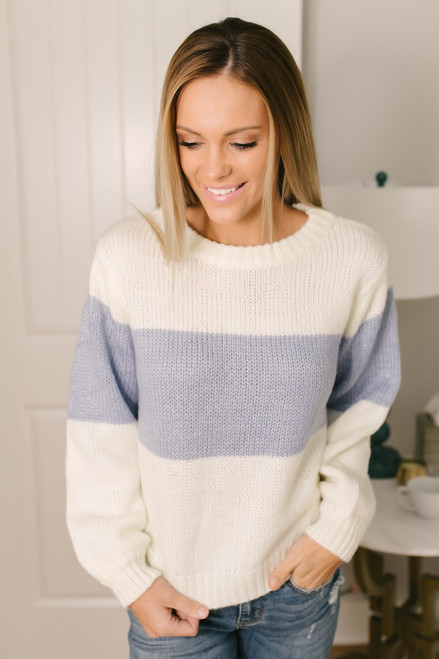 Hit the Slopes Colorblock Sweater - Ivory/Periwinkle - FINAL SALE