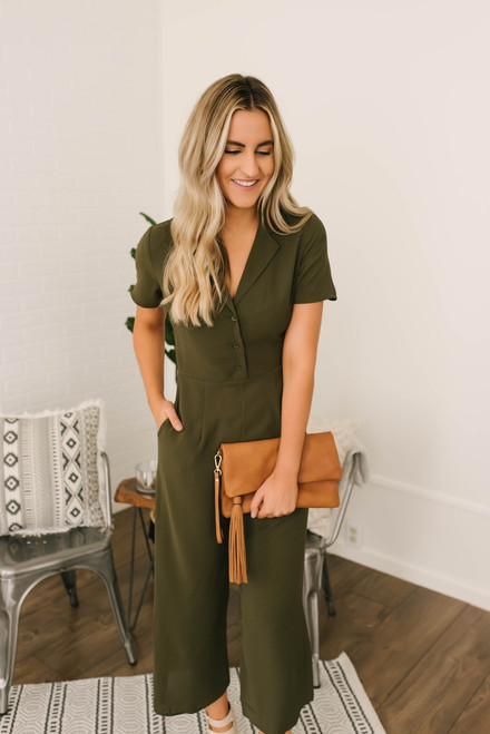 Everly Button Down Cropped Jumpsuit - Olive  - FINAL SALE