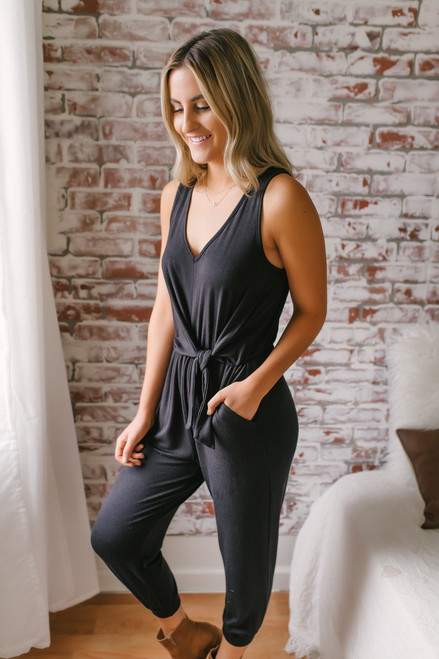 Everly Lena V-Neck Knotted Jumpsuit - Black - FINAL SALE
