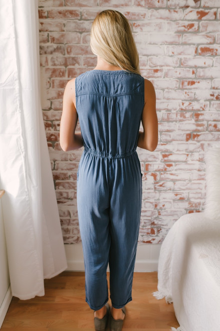 Everly Vintage Wash Cropped Jumpsuit - Faded Navy  - FINAL SALE