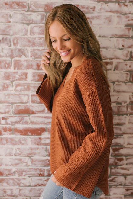 Everly Ribbed V-Neck Sweater - Gingerbread  - FINAL SALE