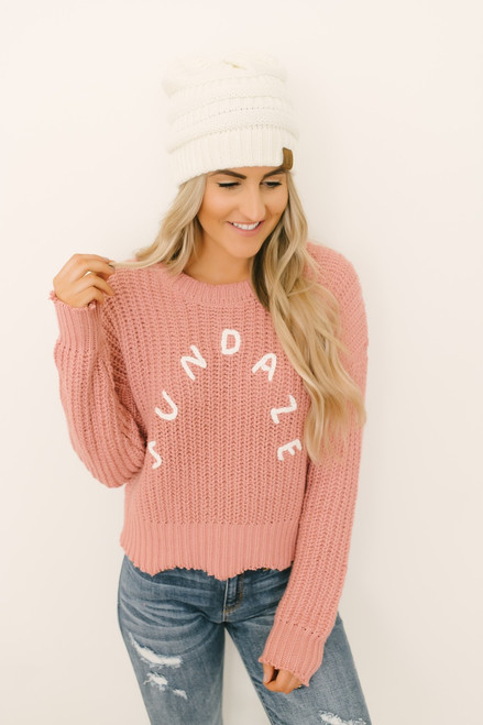 Sundaze Frayed Scalloped Sweater - Mauve  - FINAL SALE