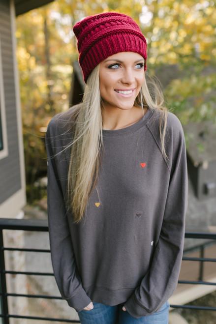 Adelaide Embroidered Hearts Sweatshirt - Charcoal Multi  - FINAL SALE