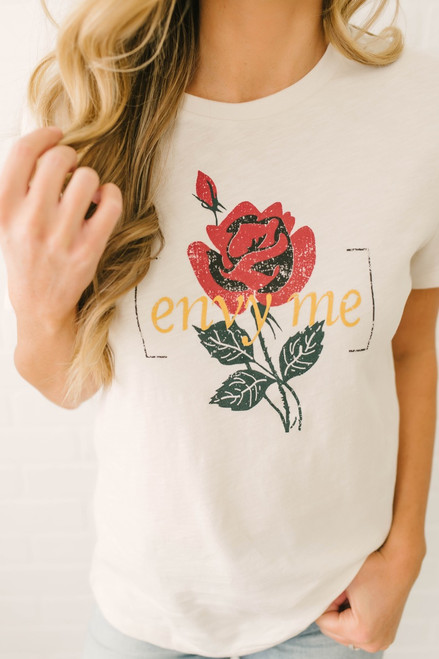Envy Me Graphic Rose Tee - Clay - FINAL SALE