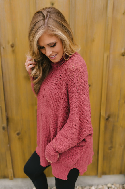 Open Knit Turtleneck Tunic Sweater - Canyon Brick - FINAL SALE