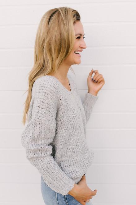 Open Knit Knot Back Sweater - Heather Grey - FINAL SALE