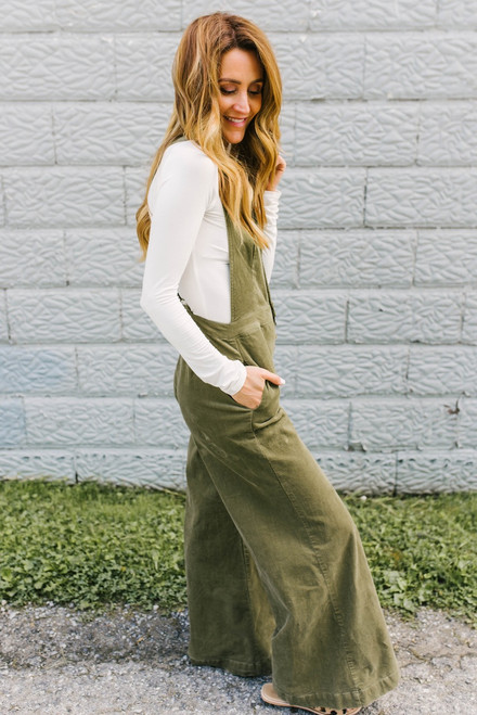 All the Right Moves Corduroy Overalls - Olive - FINAL SALE
