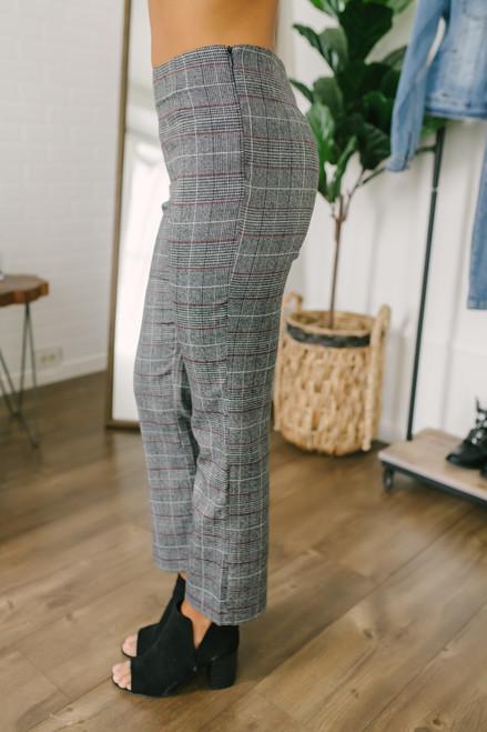 School Girl Crush Plaid Pants - Charcoal Multi