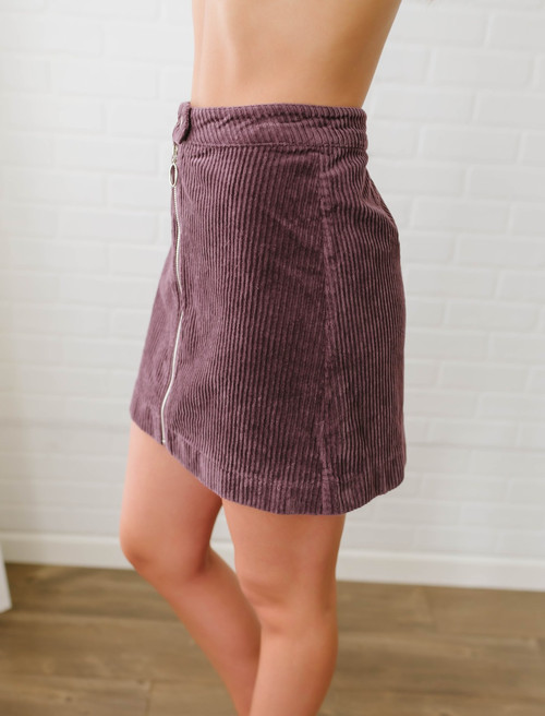 Across the Universe Corduroy Zip Up Skirt - Purple  - FINAL SALE