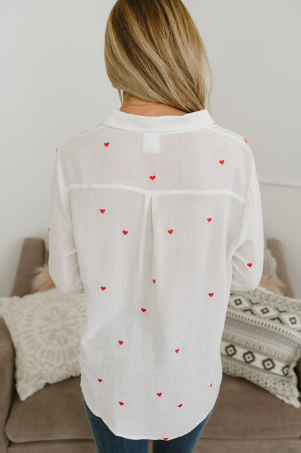Young at Heart Button Down Top - White/Red