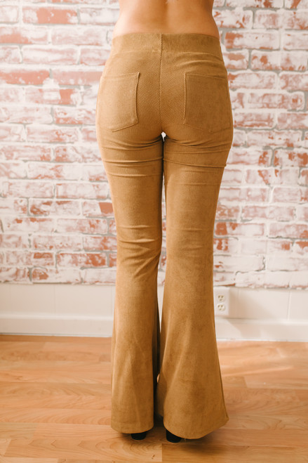Faux Suede Corduroy Flare Pants - Camel  - FINAL SALE