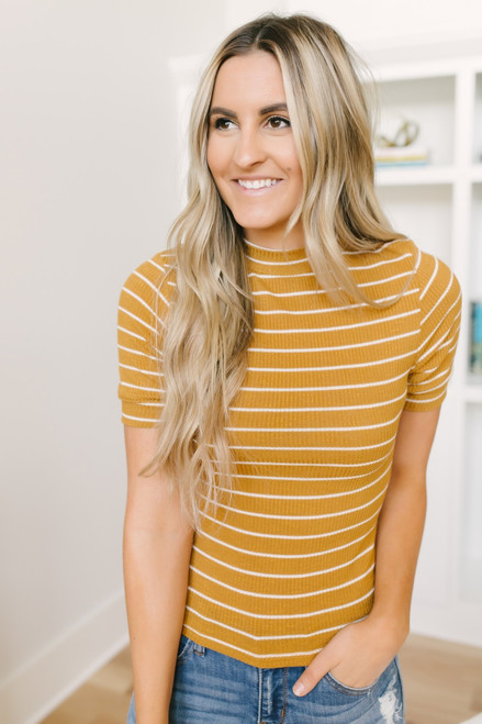 Heart of Gold Ribbed Knit Striped Top - Mustard/White - FINAL SALE