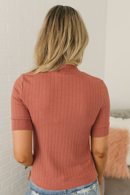 Thrill of It Mock Neck Ribbed Top - Rust  - FINAL SALE
