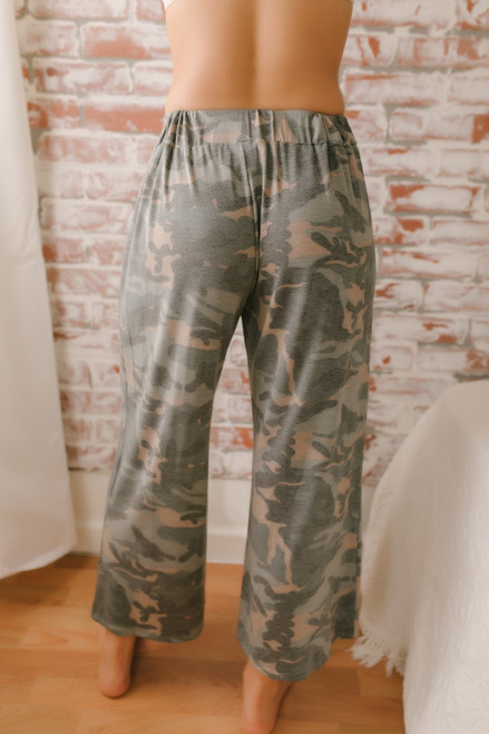Destination Relaxation Camo Cropped Pants - Olive Multi  - FINAL SALE