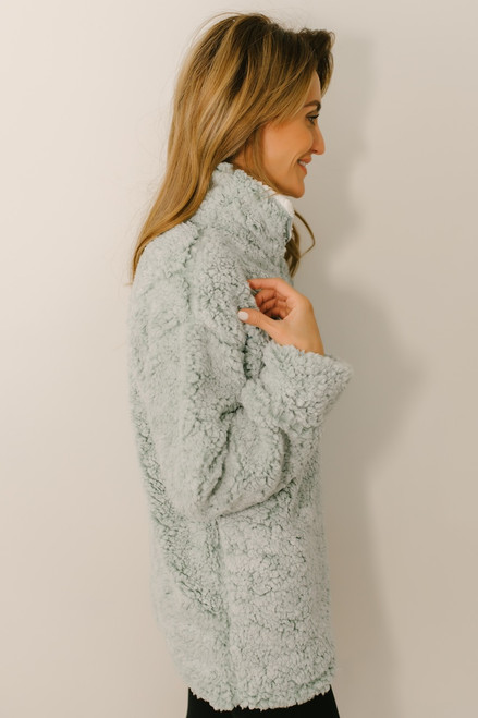 Snow Flurries Two Tone Wubby Pullover - Mint  - FINAL SALE