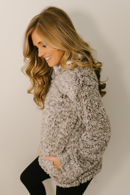 Snow Flurries Two Tone Wubby Pullover - Grey - FINAL SALE
