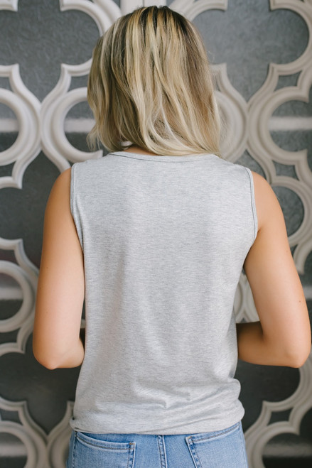All the Dogs Cutout Knot Tank - Heather Grey - FINAL SALE