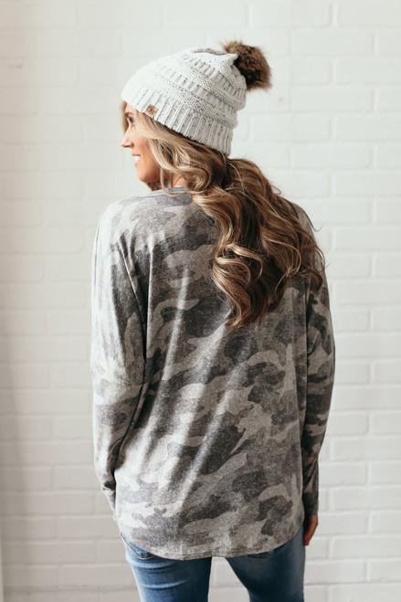 Steph Button Knot Camo Top - Grey Multi