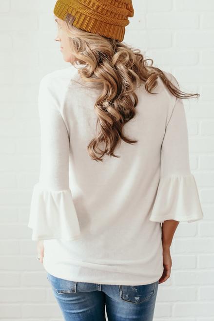 Soft Brushed Peplum Sleeve Colorblock Top - White Multi  - FINAL SALE