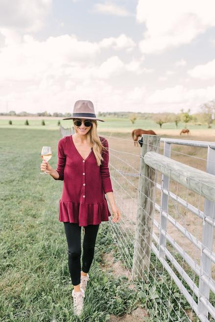 Harvest Moon Button Down Peplum Sweater - Burgundy - FINAL SALE