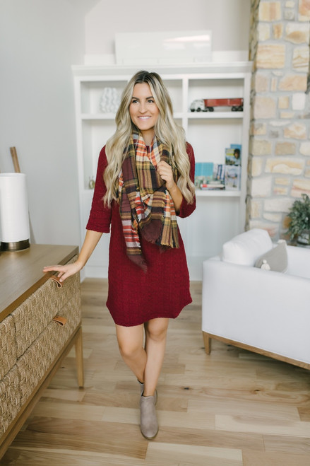 Wrapped in Love Cable Knit Dress - Burgundy - FINAL SALE