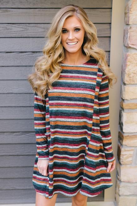 Fall Festival Striped Pocket Dress - Burgundy Multi  - FINAL SALE