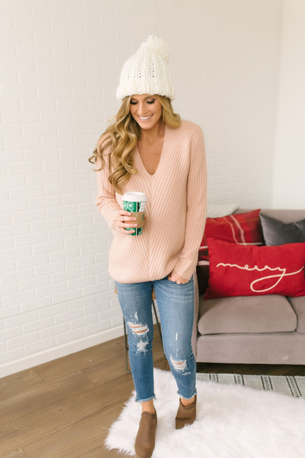 Lasting Love V-Neck Ribbed Sweater - Dusty Pink  - FINAL SALE