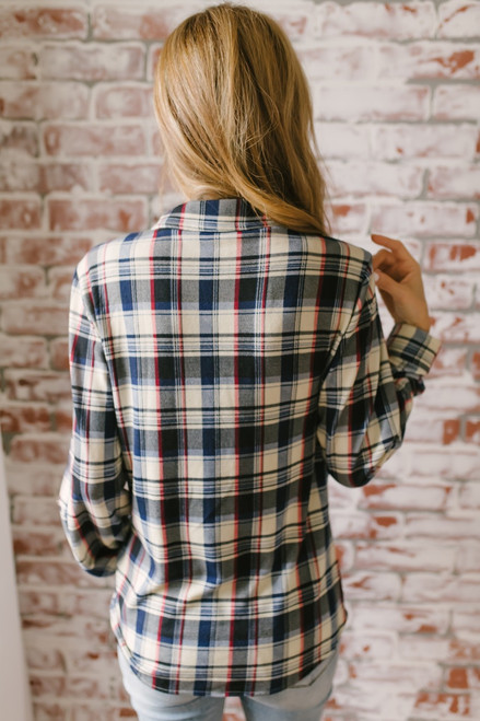 Button Down Soft Plaid Pocket Top - Navy Multi  - FINAL SALE