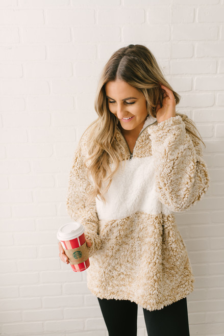 Winter Wonderland Colorblock Wubby Pullover - Beige/Ivory - FINAL SALE